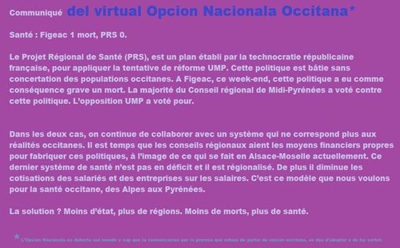 comunicat del partit Opcion Nacionala e fijac
