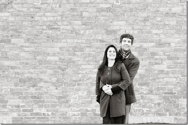 Ana n Alex brick wall bw