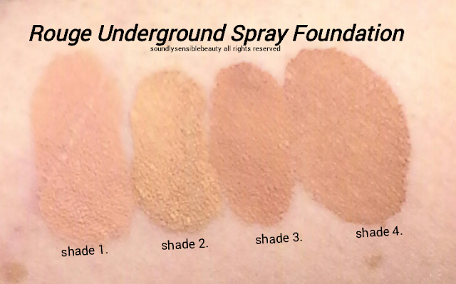 Rouge Underground Air Mist Spray Foundation; Review & Swatches of Shades Shade 1, Shade 2, Shade 3, Shade 4,  (By Luminess Airbrush Makeup)