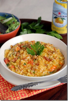 Saffron Risotto with Pancetta, Tomatoes and Sausage 2