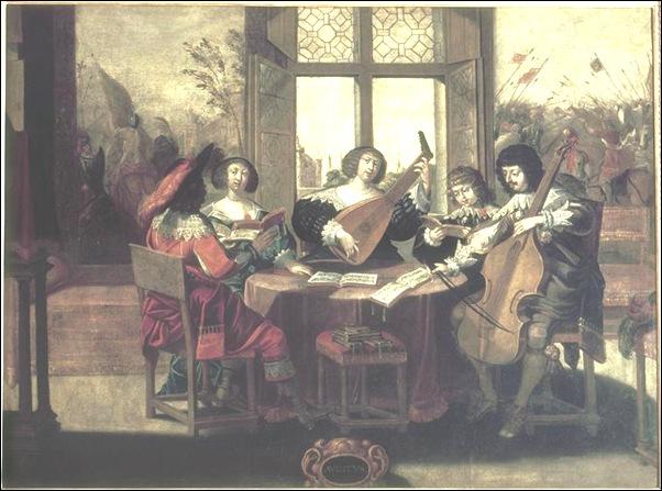 Bosse Abraham (d'après) - l'ouie (suite des 5 sens) - 17e siècle - huile sur toile - 1,04 x 1,37 m - Tours, Musée des beaux-arts