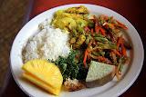 Chicken Curry, Stir Fry, Fish in Coconut Milk, Spinach, Taro, Rice, & Pineapple:  Yum! - Suva, Fiji