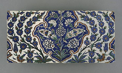 Tiles | Origin: Turkey, Iznik, Ottoman | Period:  last quarter of the 16th century | Collection: The Phil Berg Collection (M.71.73.37a-b) | Type: Ceramic; Architectural element, Fritware, underglaze painted in red, blue, green and black, 8 x 19 in. (20.32 x 48.26 cm)