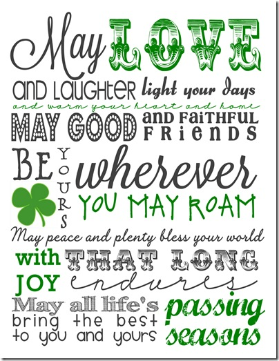Free Printable St. Patrick's Day Subway Art. Click for more holiday #freeprintables