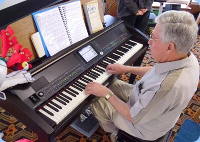 Arrival Music was most ably played by our Treasurer, Jim Nicholson, on our Clavinova CVP-509All