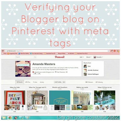 verifying your blog on pinterest with meta tags