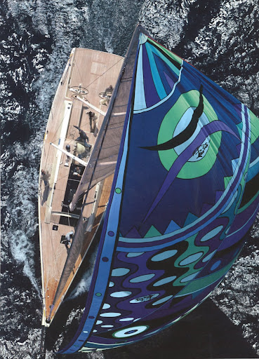 Take a look at this Wally yacht in motion with a Pucci-designed gennaker blowing in the wind.
