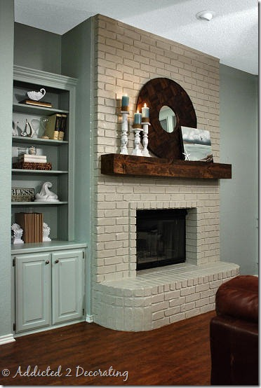 John & Alice's new painted brick fireplace!