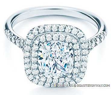 TIFFANY & CO. SOLESTE ® DIAMOND ENAGEMENT WEDDING RING BAND SETTING elegantly set with a cushion modified brilliant diamond encircled double row bead-set diamonds authority and world renown international jeweller