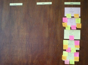 Kanban door at the end of first week