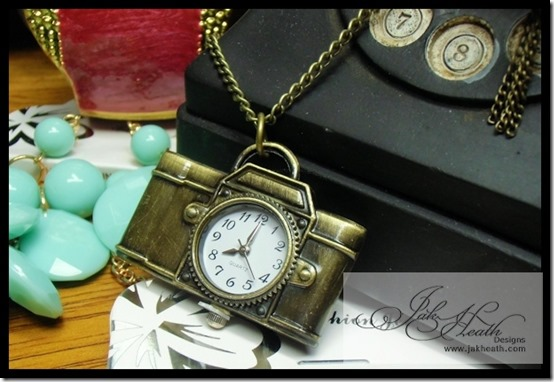 vintage camera clock necklace