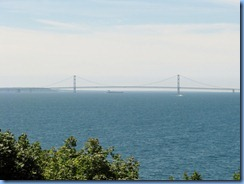 3432 Michigan Mackinac Island -  view of Mackinac Bridge and freighter from Grand Hotel