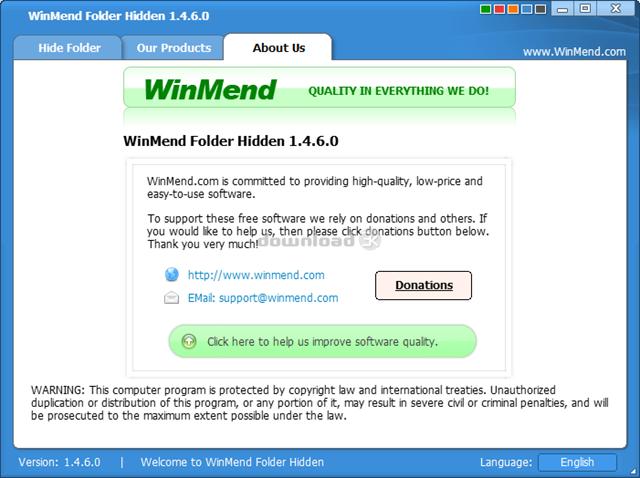 برنامج إخفاء الملفات و الفولدرات WinMend Folder Hidden 1.4.9