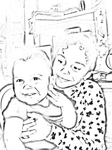 Cute baby and big sister Mixed