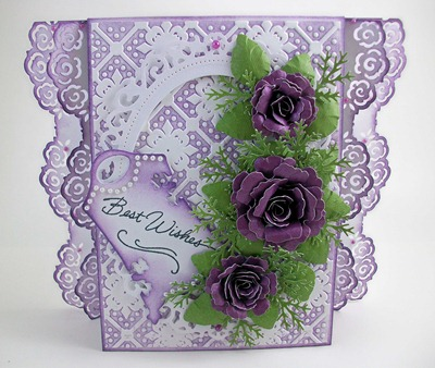 Purple Roses Wedding Card