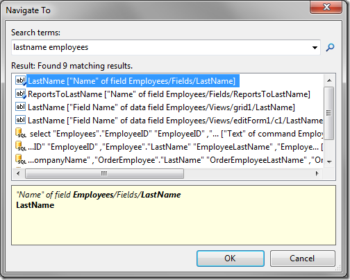 LastName field found in Navigate To using the search terms 'lastname employees'.