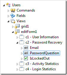 PasswordQuestion data field node of 'editForm1' of Users controller.
