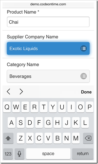 A database lookup input is displayed in a form view of a mobile app created with Code On Time mobile app generator.