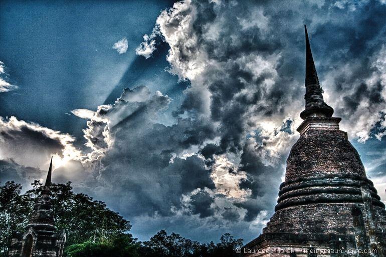 Sukhothai wat HDR clouds Thailand temple