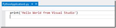 Python Hello World application with Visual Studio