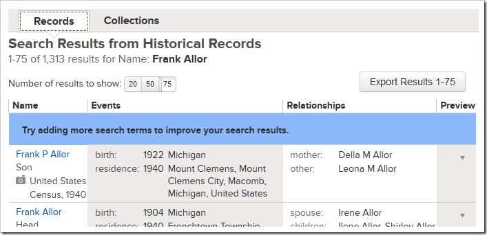 FamilySearch historical record search results ranked by score