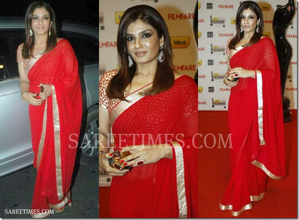 Raveena_Tondon_Red_Saree