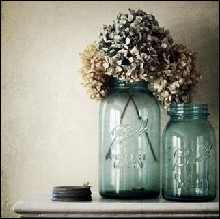 ball jars and hydrangeas
