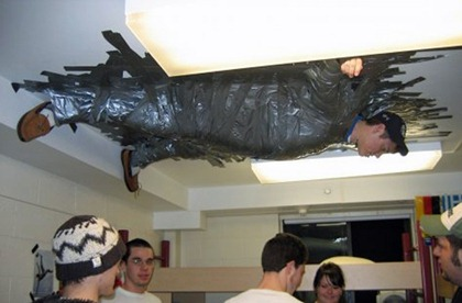 crazy-funny-university-prank-duct-tape-guy-ceiling
