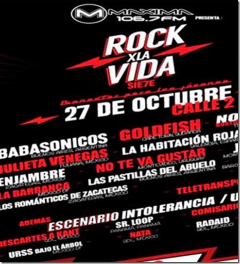 cartel oficial rock x la vida en guadalajara 2013 en calle 2