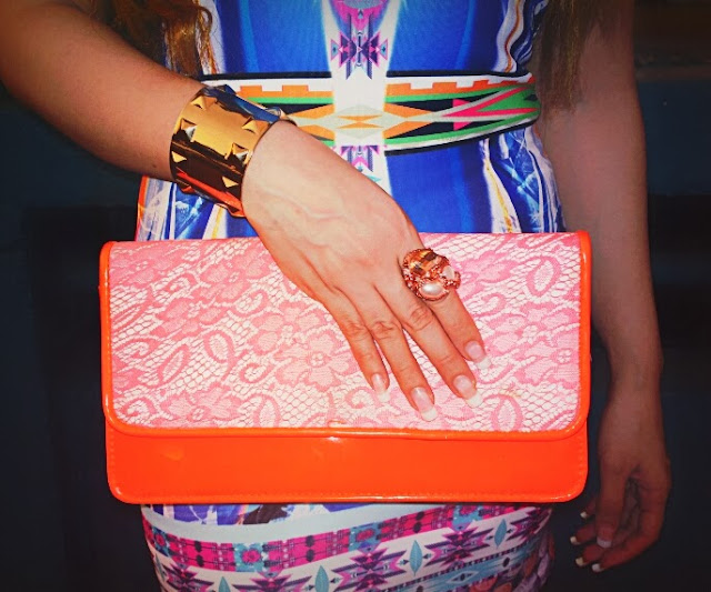 Neon Orange Aldo Clutch,Gold Cuff Bracelet, Rose Gold Ring