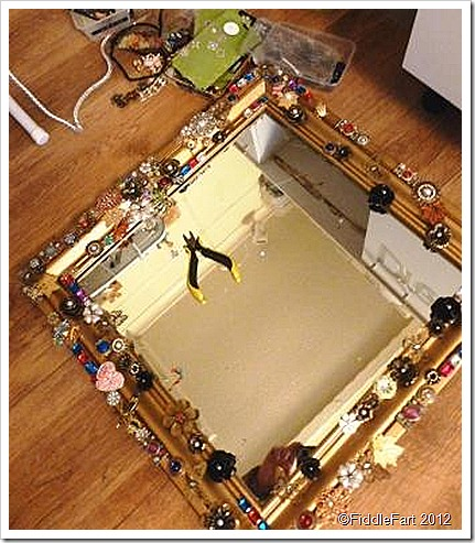 Bejewelled mirror work in progress.