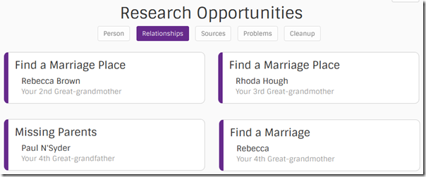 Find-a-Record research opportunities: relationships missing information