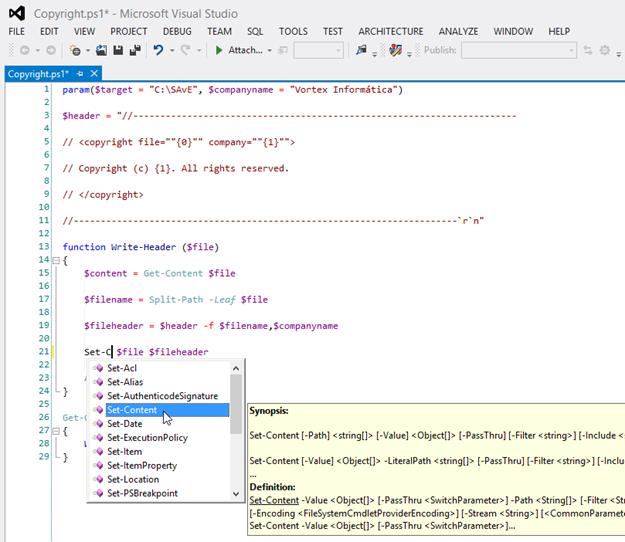 PowerGUI editing PowerShell script with full IntelliSense support and Code Highlighting