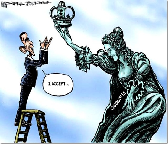 Lady Liberty offers crown to BHO