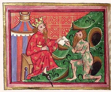 Alessandro Magno e il re dei bramini nudi gimnosofisti (miniatura medievale)