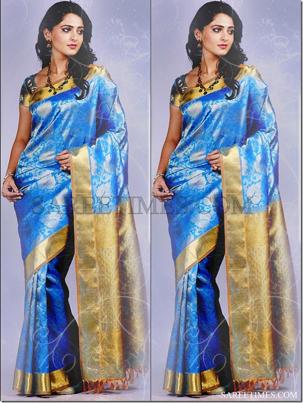 Anushka_Blue_Silk_Saree
