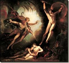 Fussli, Satan chassé du paradis par l'ange Ithuriel
