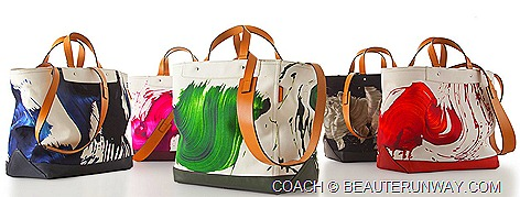 COACH X JAMES NARES COLLECTION SPRING SUMMER 2012 black, blue, green, pink orange ARTISTIC ITALIAN CANVAS  LEATHER BAGS designer