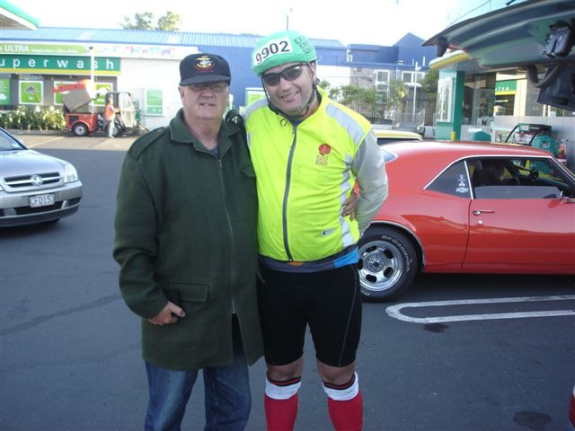 Dad and I at the finish - on the BP forecourt. Not sure who is most tired?