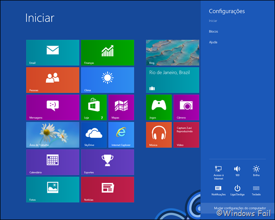 Clique em Mudar configurações do computador