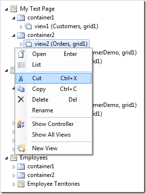 Cut context menu option for view2 data view.