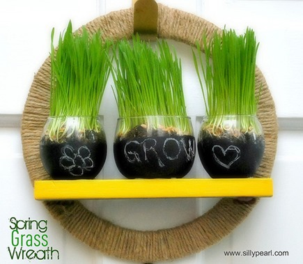 Spring Wheat Grass Wreath - The Silly Pearl