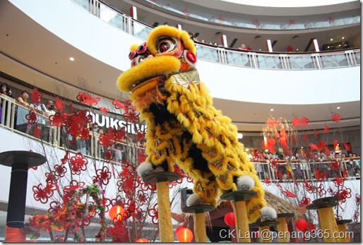 Shoppers catching a glimpse of the stunning lion dance performance