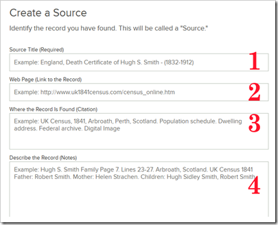 The four fields of a FamilySearch Family Tree source