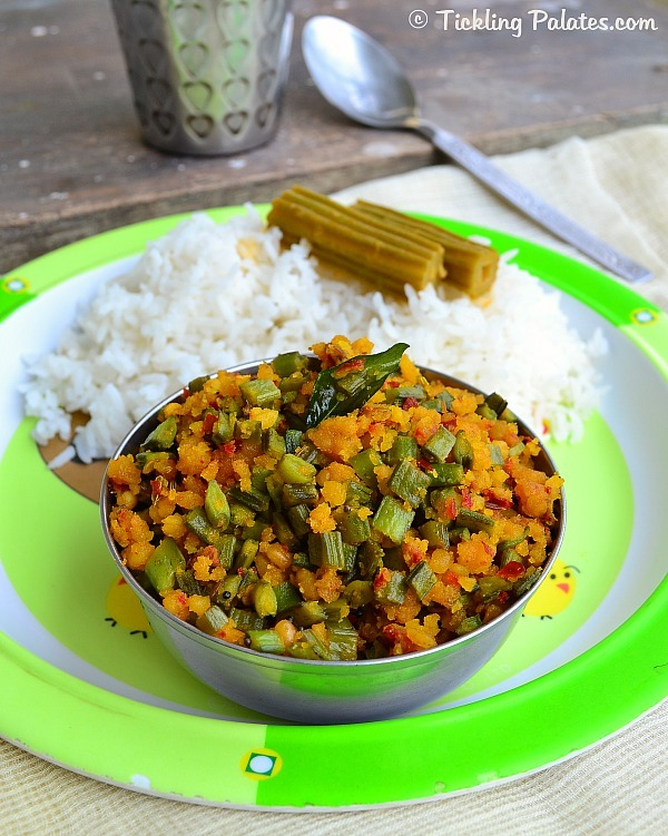 Kothavarangai Poriyal with Dal   Side dish recipes for rice