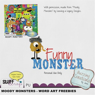 Leaving a Legacy Designs - Moody Monster - Funny Monster wordart Preview
