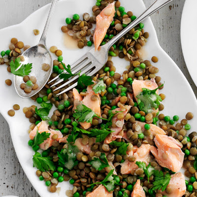 Green Lentils With Peas, Parsley, Capers And Hot-smoked Trout