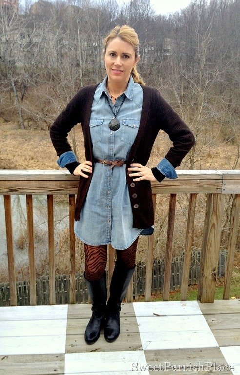 denim shirtdress, zebra tights, tall boots