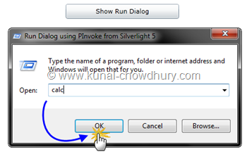 Silverlight 5 RC - PInvoke Demo - Executing Command from Run Dialog