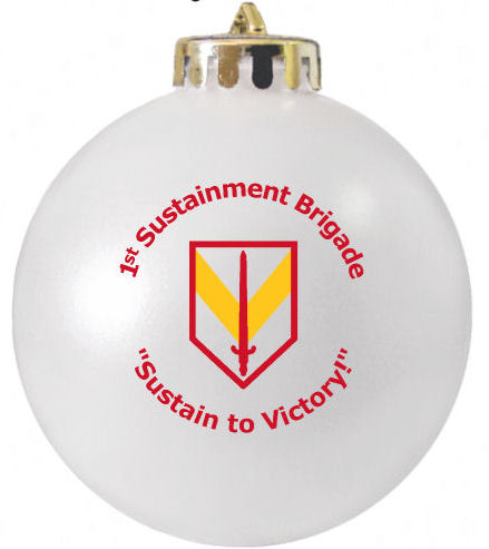 1st Sustainment Brigade Christmas ornament with logo designed at www.fundraisingornaments.com